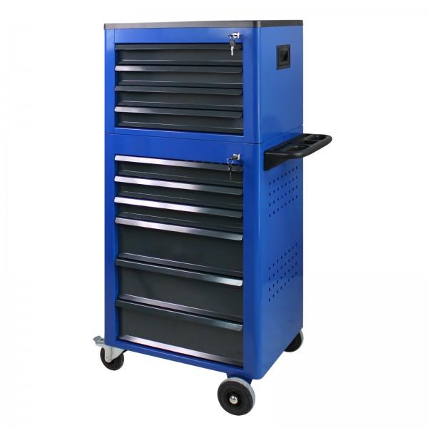 Werkstattwagen Basic mit Werkzeugtruhe, 12 Schubladen, Blau