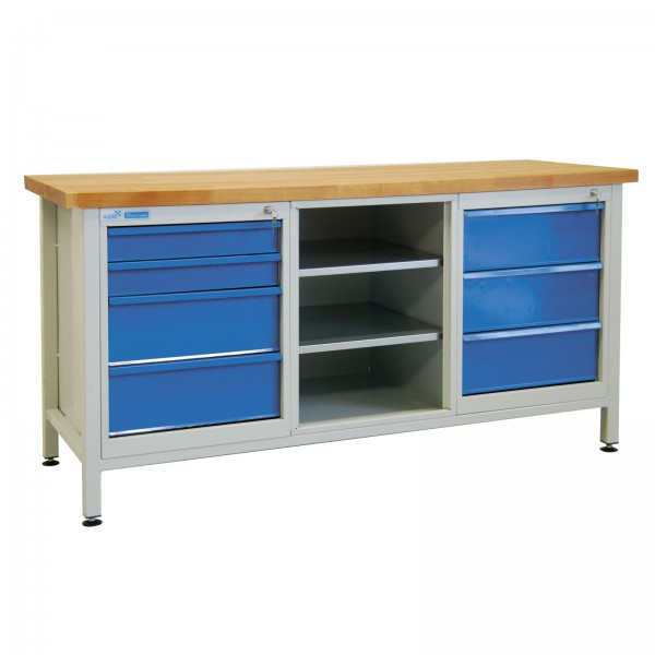 Werkbank / Werktisch mit 7 Schubladen