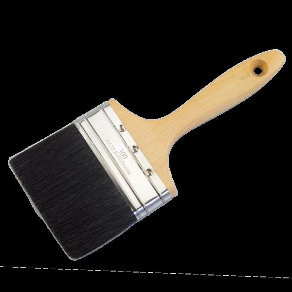 Maler-Lackierpinsel schwarze Mischborste roher Holzstiel