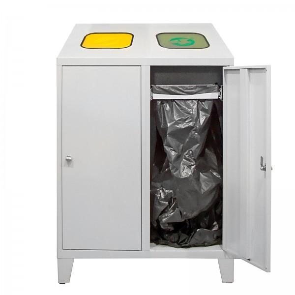 Recycling-Abfallsammler mit 1 Beutelhalterung und 1 verzinkten Behälter