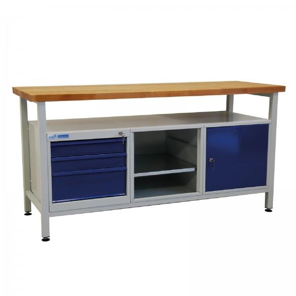 Werktisch / Werkzeugtisch 1700x600x840 mm mit 3 Schubladen, 1 Tür