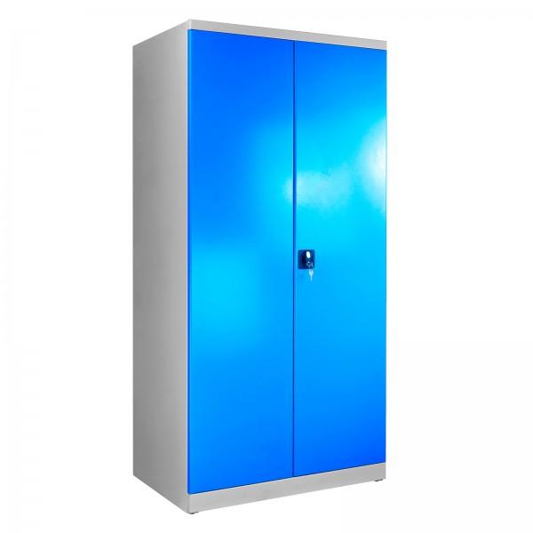 Flügeltürenschrank, Tiefe 600 mm, Grau/Blau