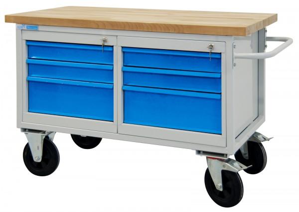 Tischwagen / Werkstattwagen 6 Schubladen, RAL 7035/5012