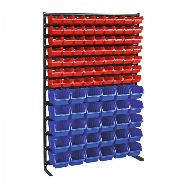 Sichtlagerkastenregal mit 93 Sichtlagerkästen, Blau/Rot