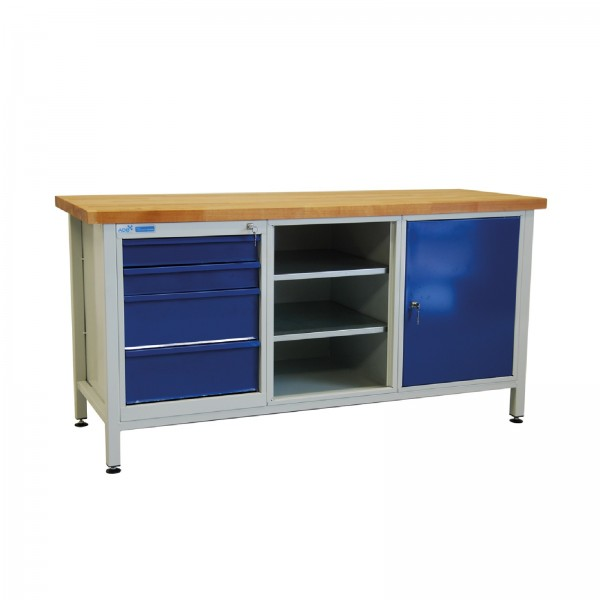 Werkbank / Werktisch, 1700x600x840 mm, mit 1 Tür + 4 Schubladen