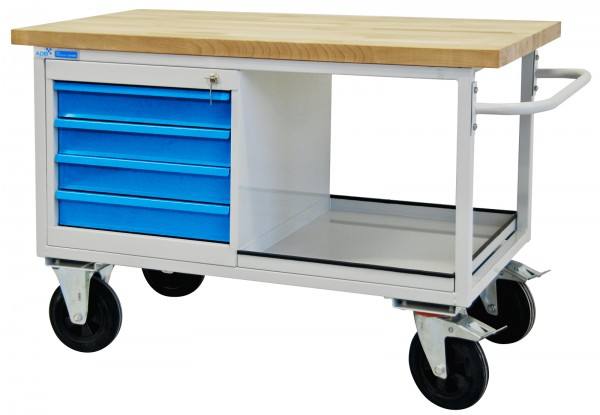 Tischwagen / Werkbank 4 Schubladen, mit Rollen, 1300x827x600 mm