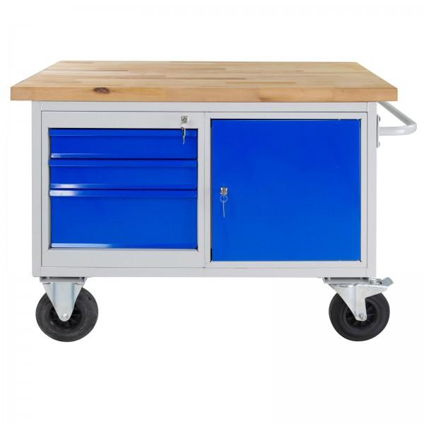 Werkbank / Tischwagen mit 3 Schubladen und 1 Tür