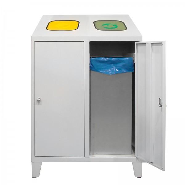 Recycling-Abfallsammler mit 2 verzinkten Behältern