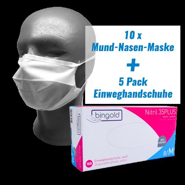 Mund-Nasen-Maske und Einweghandschuhe im Set