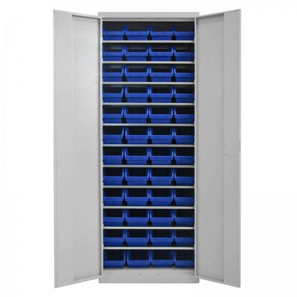 Werkzeugschrank mit 11 Fachböden und 48 Sichtlagerkästen blau