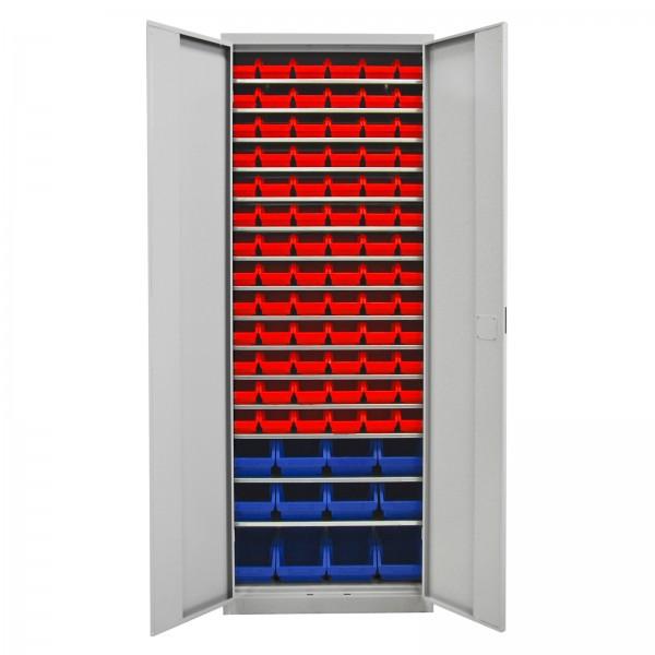 Werkstattschrank mit 15 Fachböden und 90 Stapelboxen