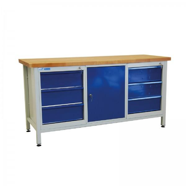 Werkbank Packtisch 1700x840x600 mm 6 Schubladen + 1 Tür