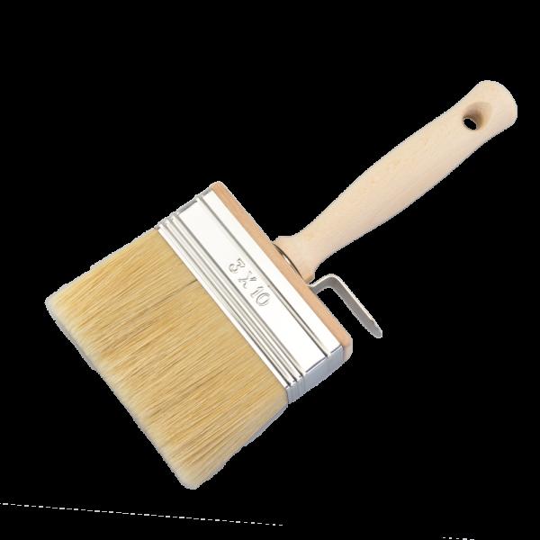 Flächenstreicher 3 x 10cm helle Mischborste Vulkanisiert roher Holzstiel