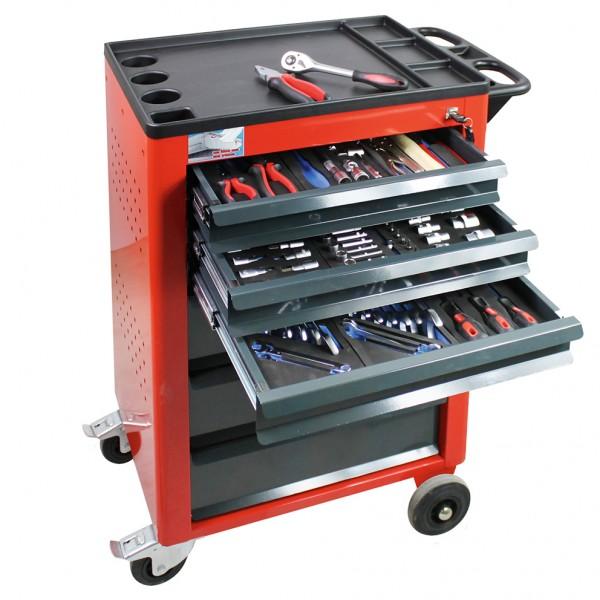 Werkstattwagen Basic (rot) mit 115 teiligem Werkzeugsatz