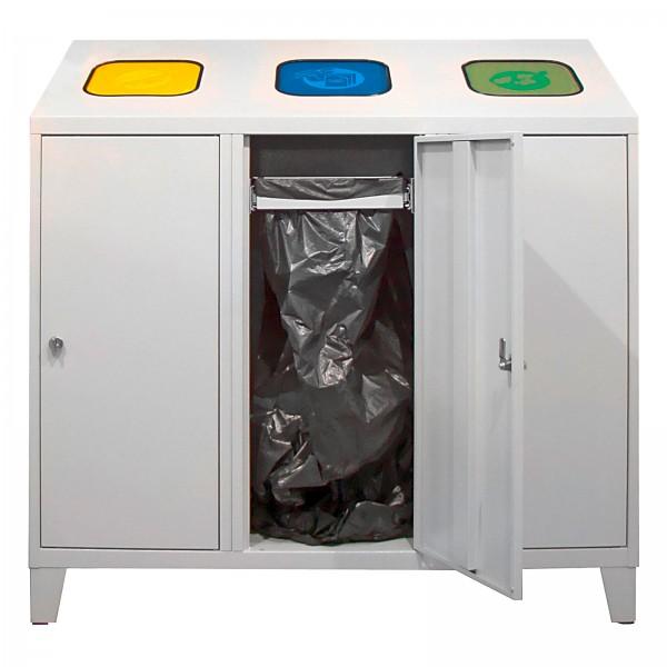 Recycling-Abfallsammler mit 1 Beutelhalterung und 2 verzinkte Behälter