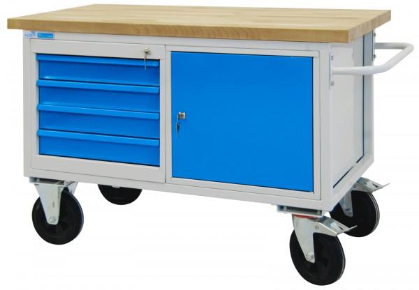 mobile Werkbank / Werkstattwagen 827x1300x600 mm 4 Schubladen + 1 Stahlblechschrank