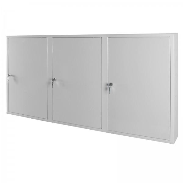 Werkzeugwandschrank mit 3 Türen, 4 Fachböden, Grau