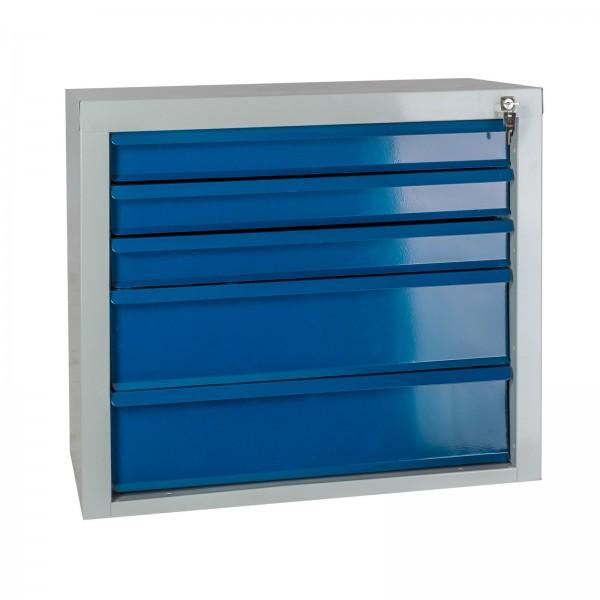 """Schubladenschrank """"MAMMUT"""" 5 Schubladen hellgrau / blau"""