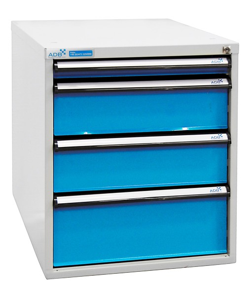 Schubladenbox, Höhe 650 mm, 4 Schubladen (versch. Blendenhöhen)