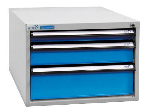 Schubladenbox, Höhe 400 mm, 3 Schubladen (untersch. Blendenhöhen)