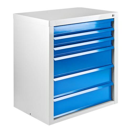 """Schubladenschrank 6 SL """"MAMMUT"""" hellgrau / blau"""