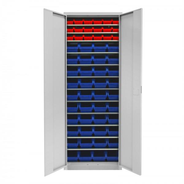 Werkstattschrank mit 12 Fachböden und 58 Stapelboxen