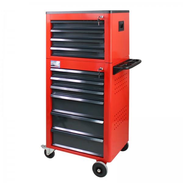 Werkstattwagen Basic mit Werkzeugtruhe, 12 Schubladen, rot