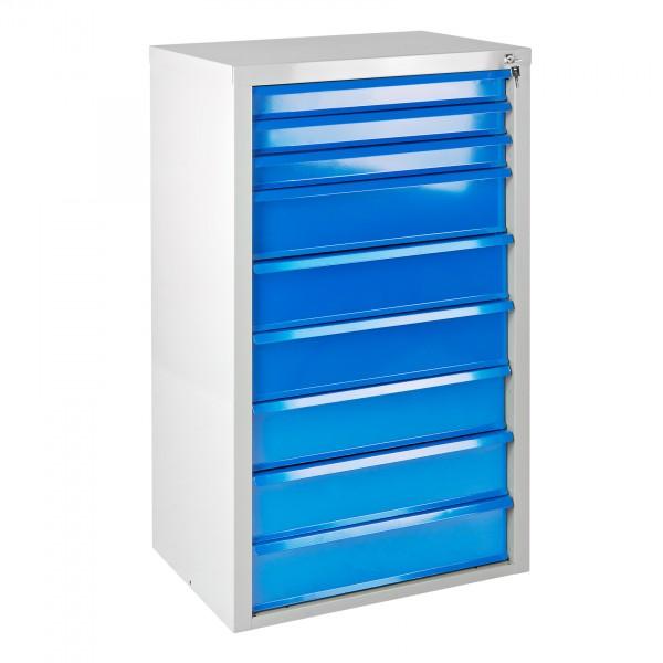 """Schubladenschrank """"MAMMUT"""" 9 Schubladen hellgrau / blau"""