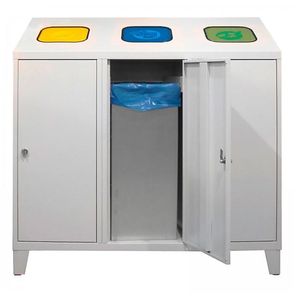 Recycling-Abfallsammler mit 3 verzinkten Behältern