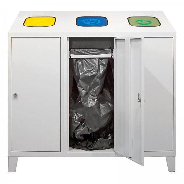 Recycling-Abfallsammler mit 3 Beutelhalterungen